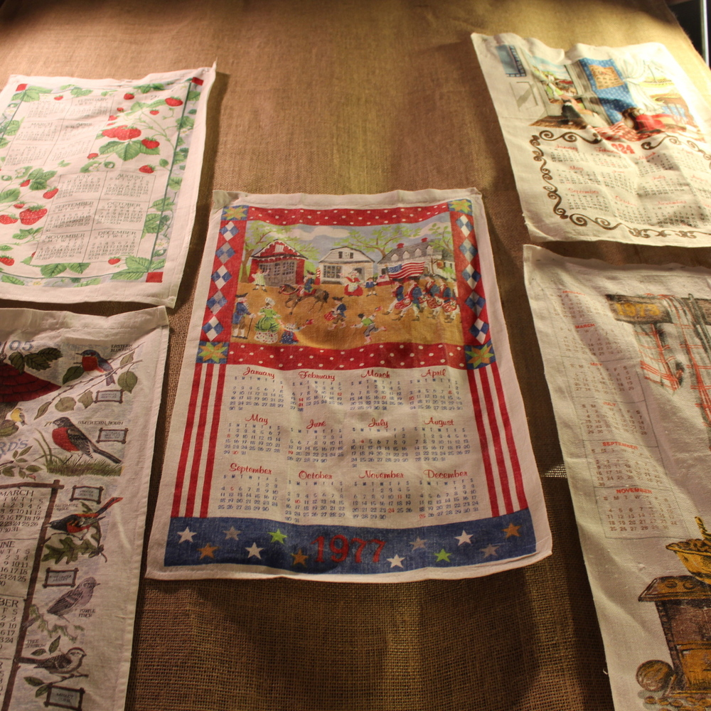 Display of Calendar Dish Towels