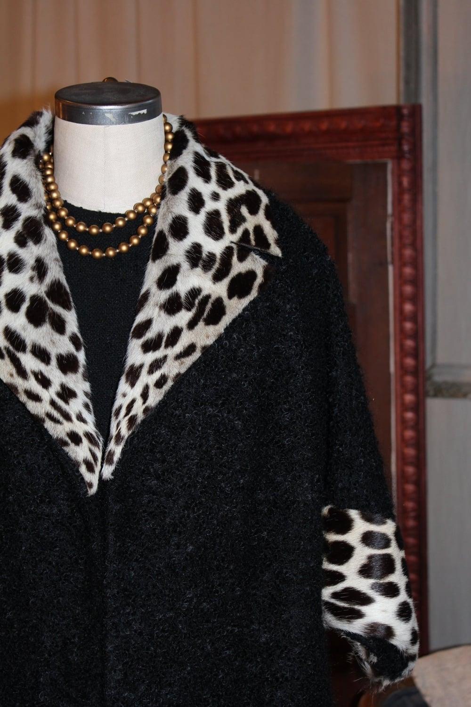 Gertrude Frank Leopard Trim coat