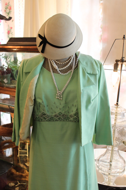 Vintage Green Silk Suit
