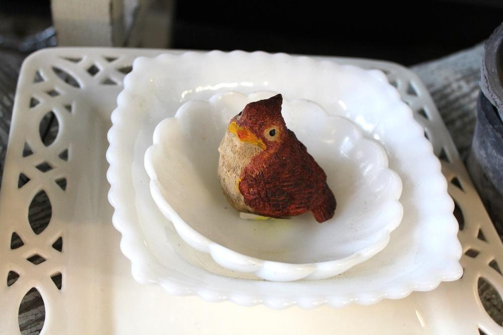 Milk Glass Plates & Lady Cardinal Figurine