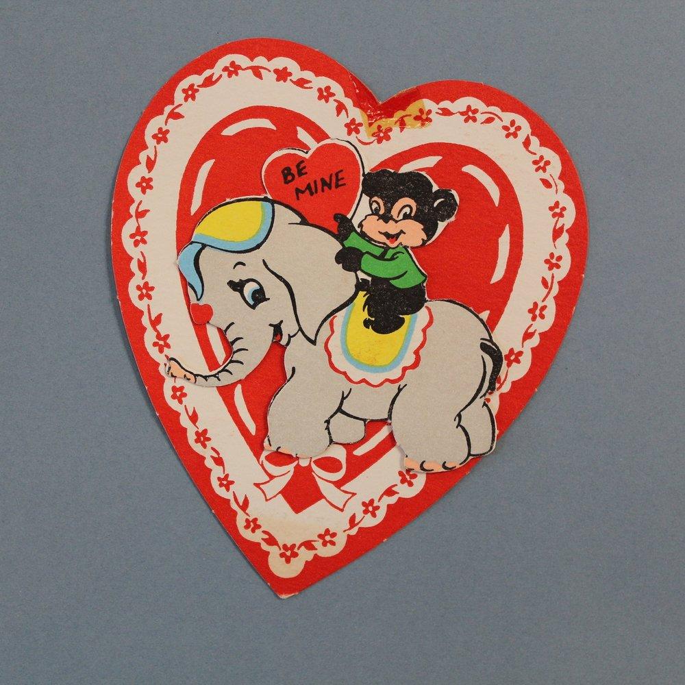 Vintage Bear & Elephant Valentine Card