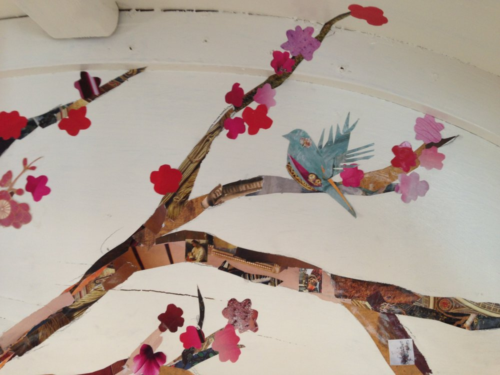 decoupage cherry tree and bird