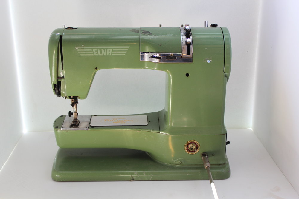 Elna grasshopper green sewing machine vintage