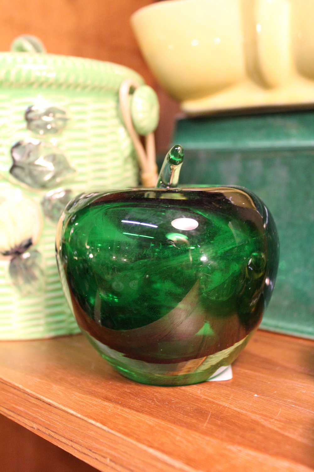 green glass apple paperweight