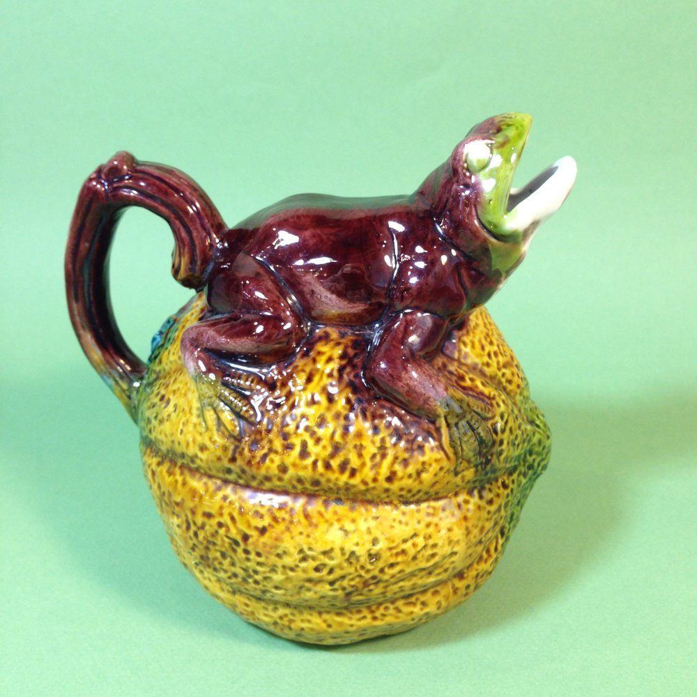 Majolica Frog & Melon Pitcher