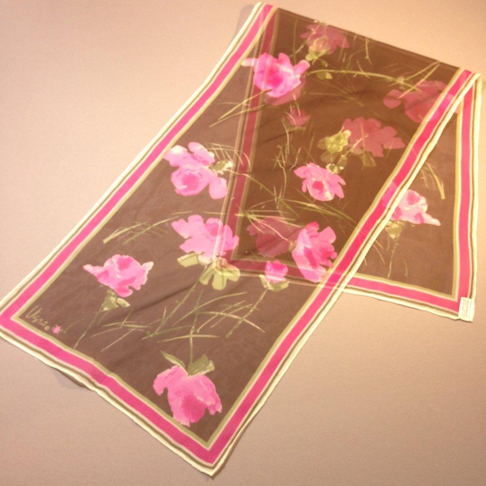Pink & Brown Floral Vintage Vera Sheer Scarf