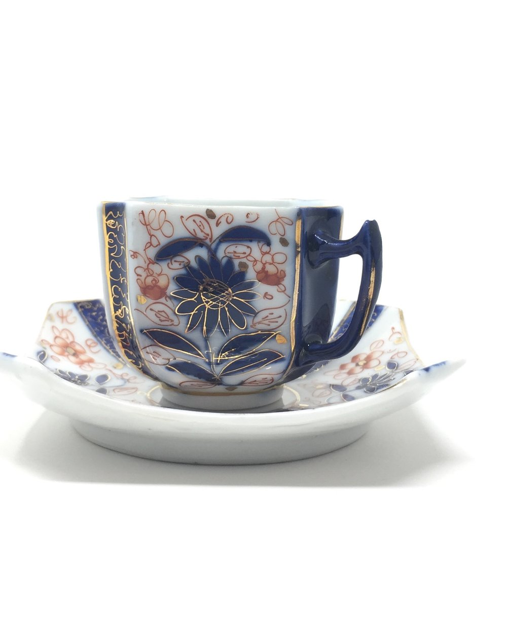 Blue China Square Cup & Saucer