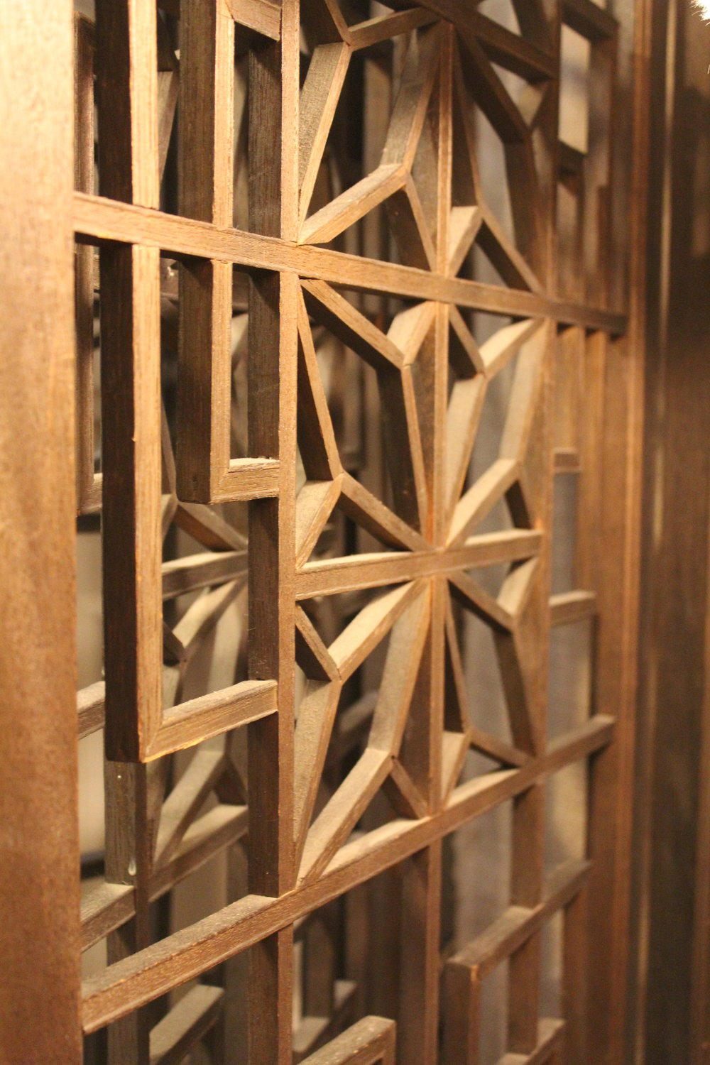 Vintage Asian Inspired Wooden Screen