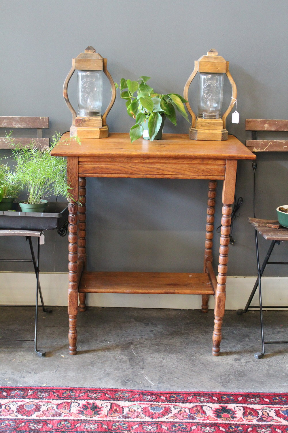 Wooden Side Table and Mason Jar Lanterns