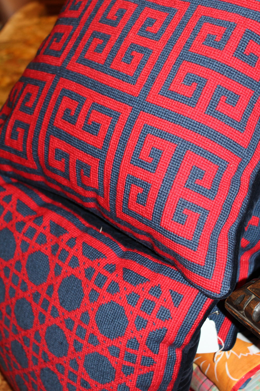 Vintage Red & Blue Pattern Pillows