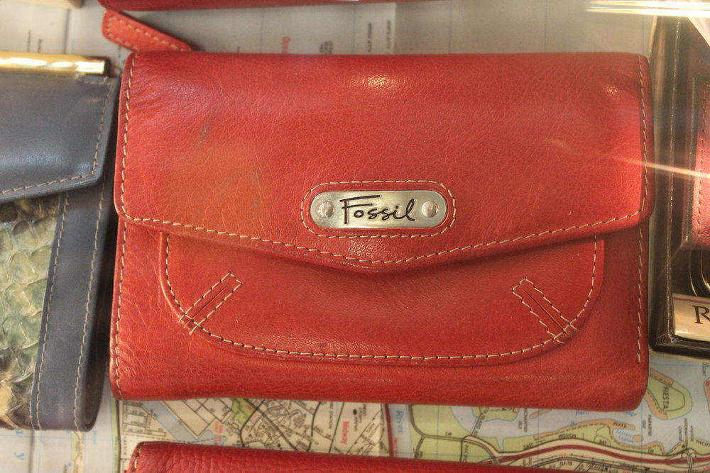 Red Leather Fossil Wallet
