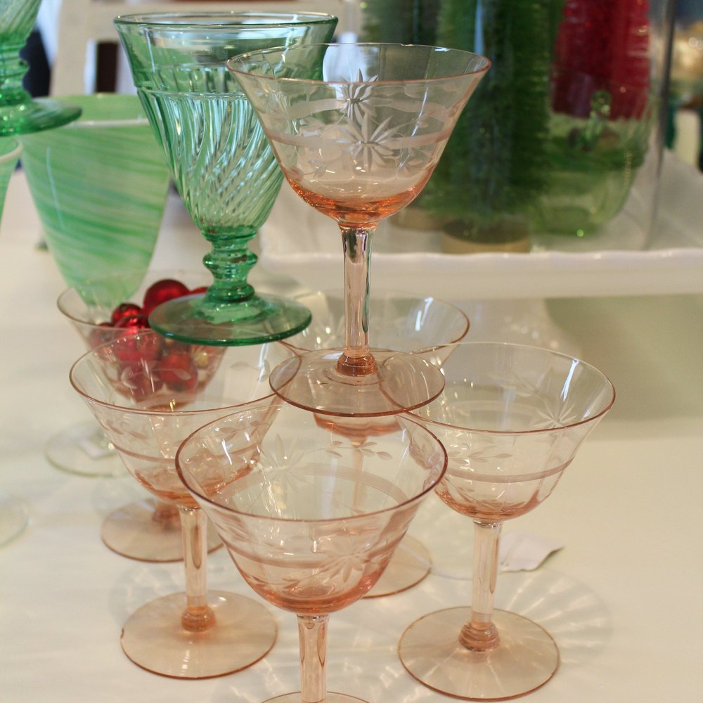 Pink & Green Depression Glass Cocktail Glasses