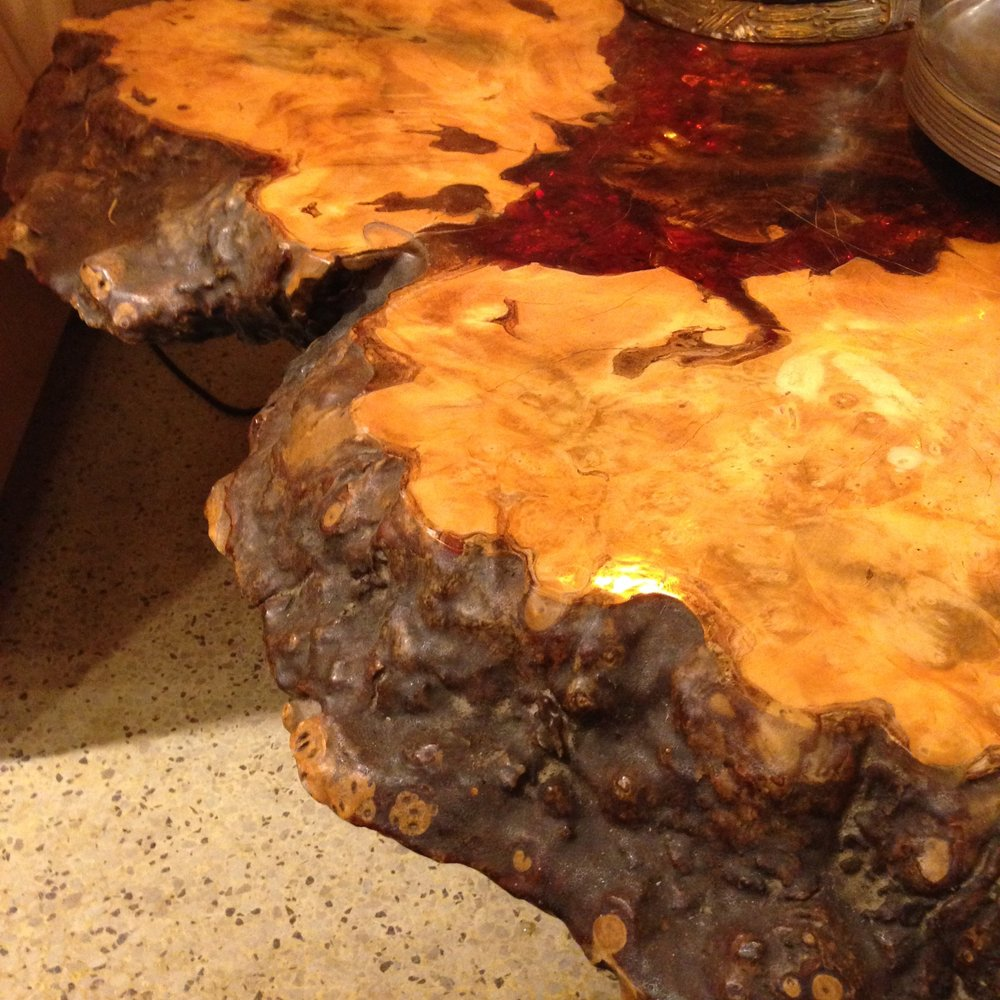 burled wood and amber stump table