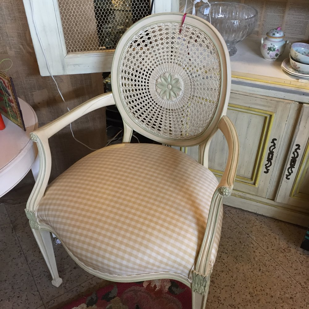 Cream and Yellow Caned Back Chair