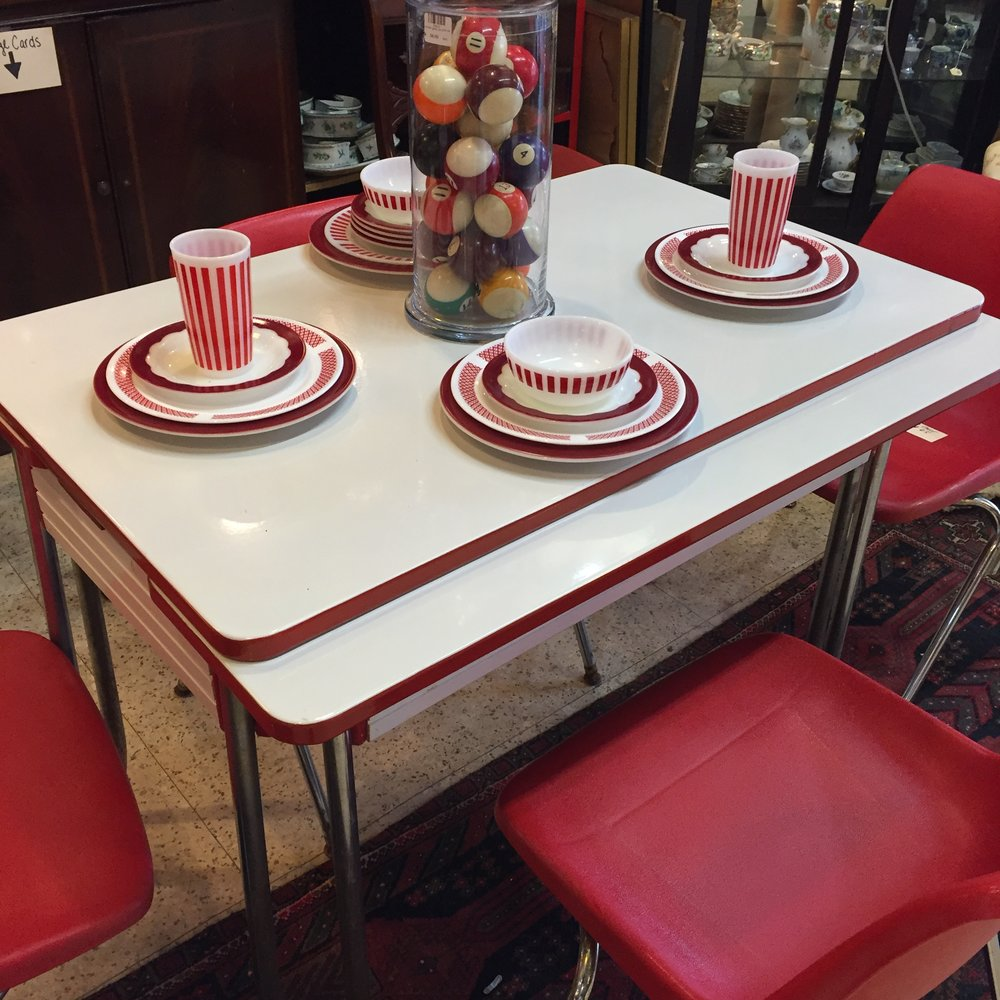 Red & White Enamel Table