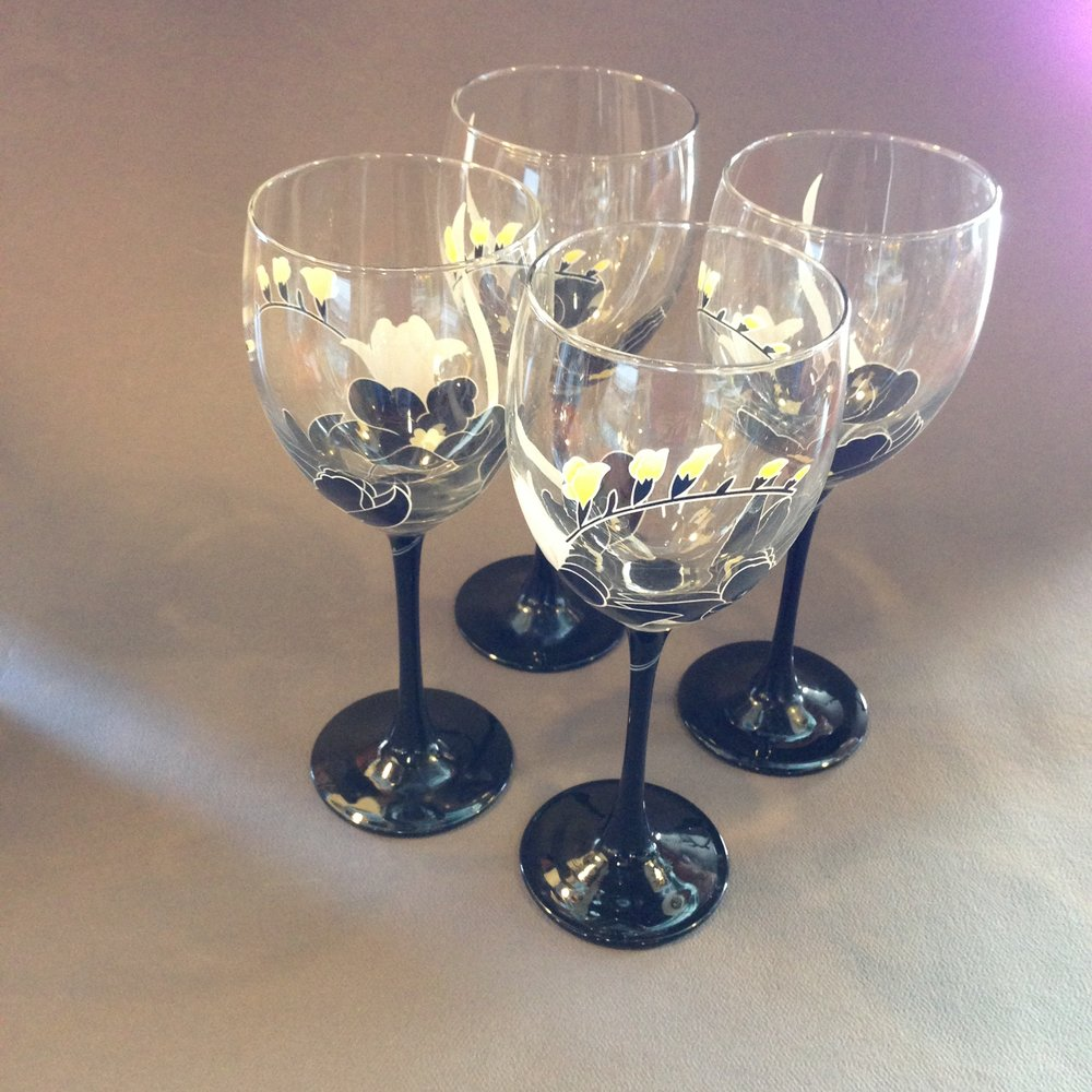 Black Painted Wine Glasses