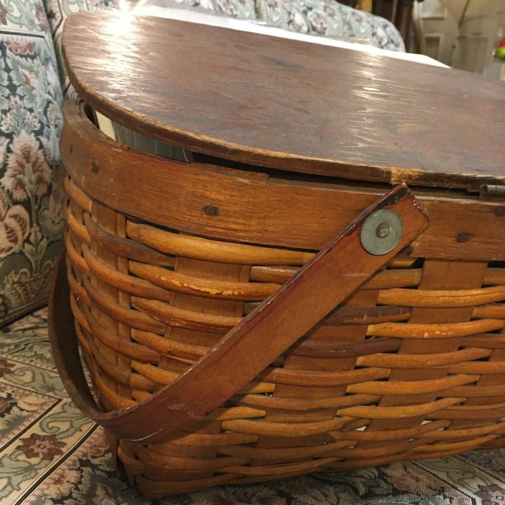 Vintage Wooden Picnic Basket