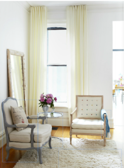 Cabbagetown's  Ghislaine Beckers  kept things light and clean using neutral fabrics and paint colours when re-doing this room. Photo courtesy of  Covet Garden Magazine