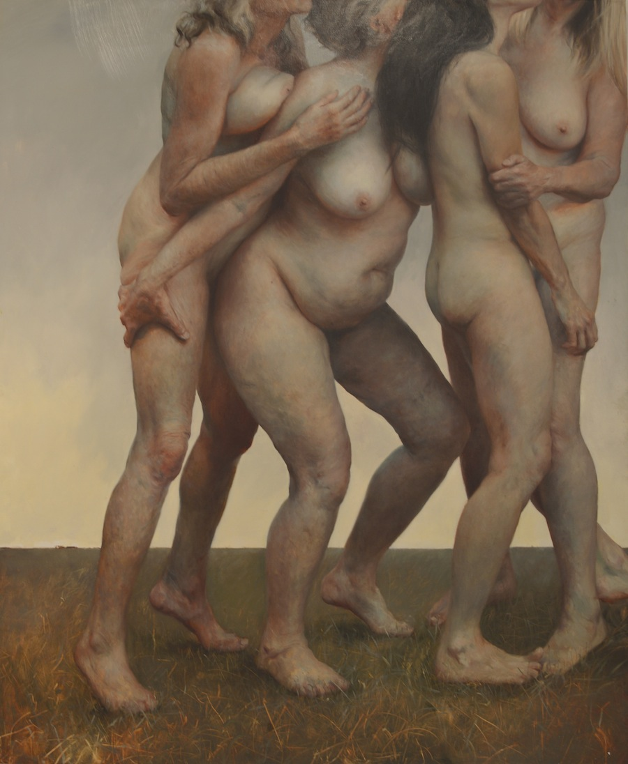 "Aleah Chapin,  Step , oil on canvas, 2012, 74""x61"""