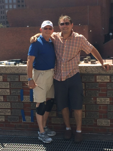 CC Executive Director Jonathan Zuker and Board Member Bobby 'The Brick' working at the Cancer Garden of Hope.