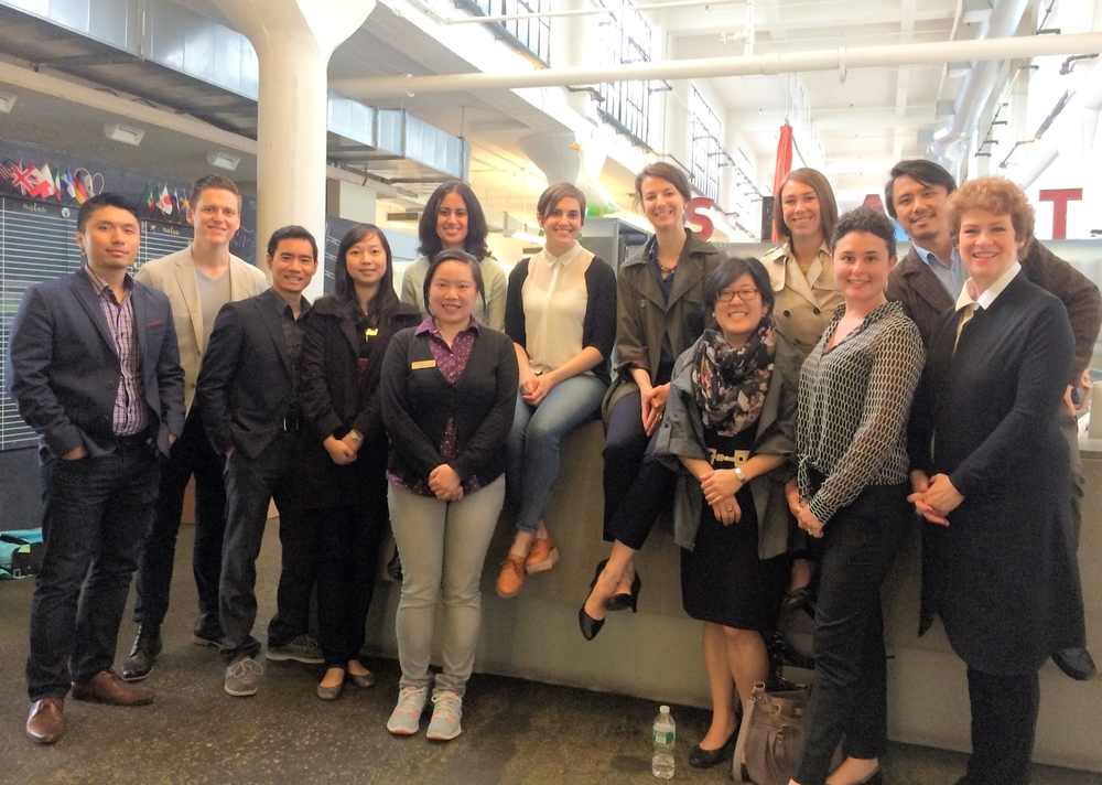 Russell Blanchard, Associate Director - Industrial Design, and Kristi Candela, Senior Business Designer,at Smart Design, with the participants of the Rotman Design Tour 2014