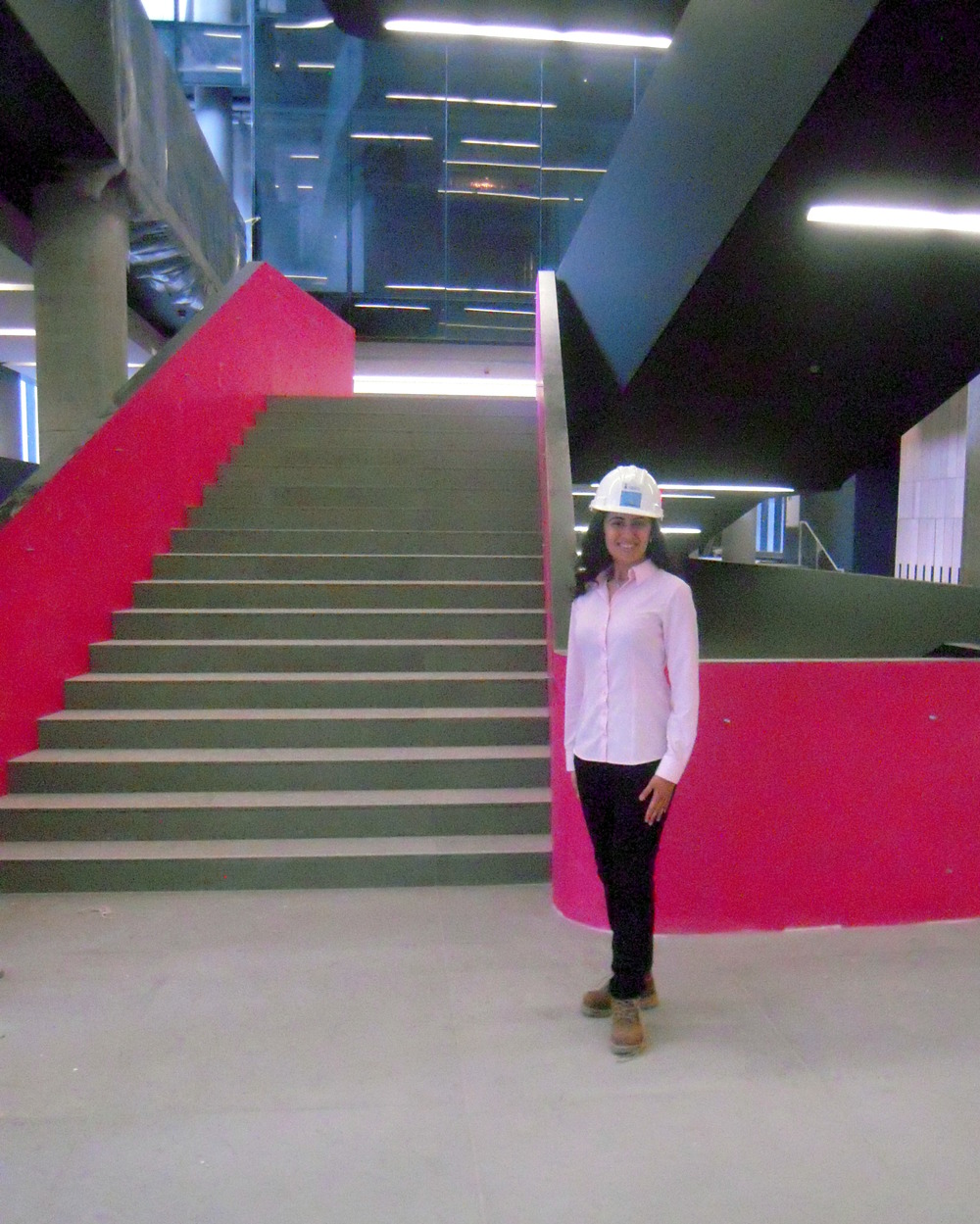 Rocking my hard hat and boots during my sneak-peek tour of Rotman's New Building!