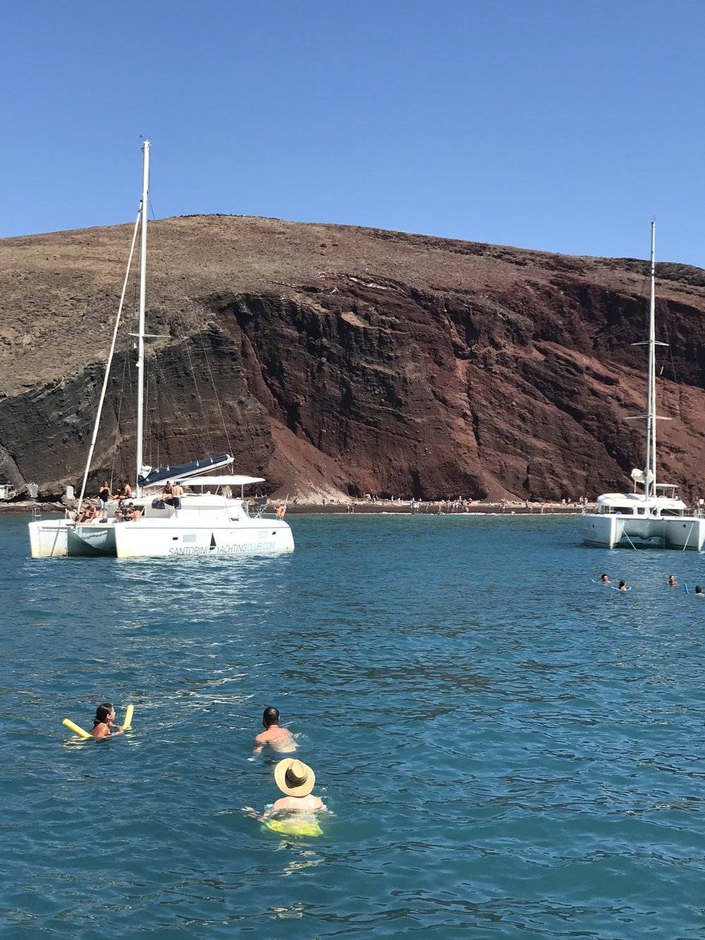 We spent a lovely afternoon on a catamaran cruise while on Santorini.