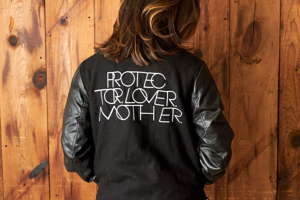 Protector. Lover. Mother. Black/White Varsity Jacket with Vegan leather Sleeves - The LB Brand