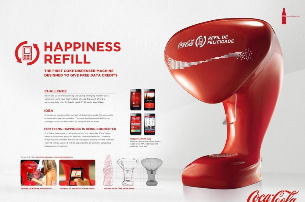 Coca-Cola Happiness Refill Machine - allowing customers to fill up with free mobile data credits. Brand Religion - Happiness