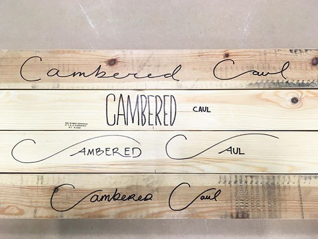 Label Making - - - Labeling some cambered cauls we made for a bunch of big glue ups today - - #woodwork #labeling #caligraphy #finewoodworking
