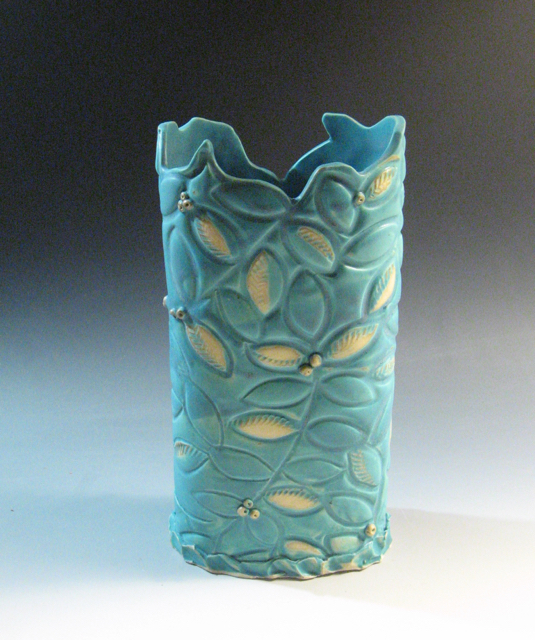 Turquoise Matte Vase, carved and stamped