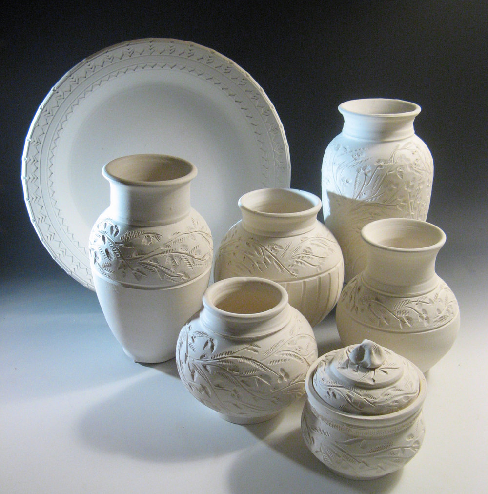 Unglazed white stoneware & Cellar Door Pottery