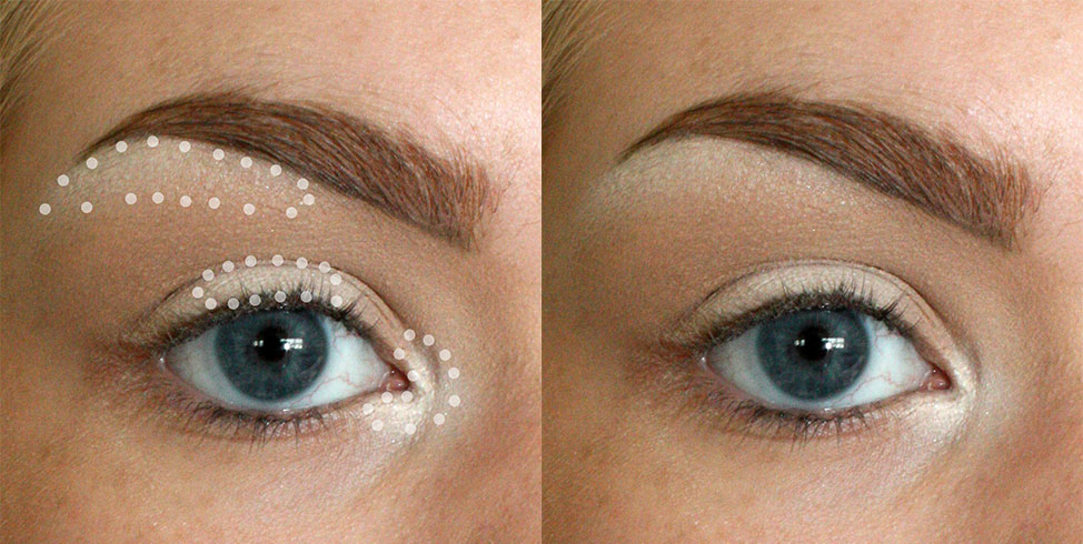 BRUSH USED: MAC 213 Apply your lightest shadow in the three main highlight points: in this case, just under the brow, the center of the lid, and the inner corner of the eye. This helps to give the appearance of a more open and awake eye.