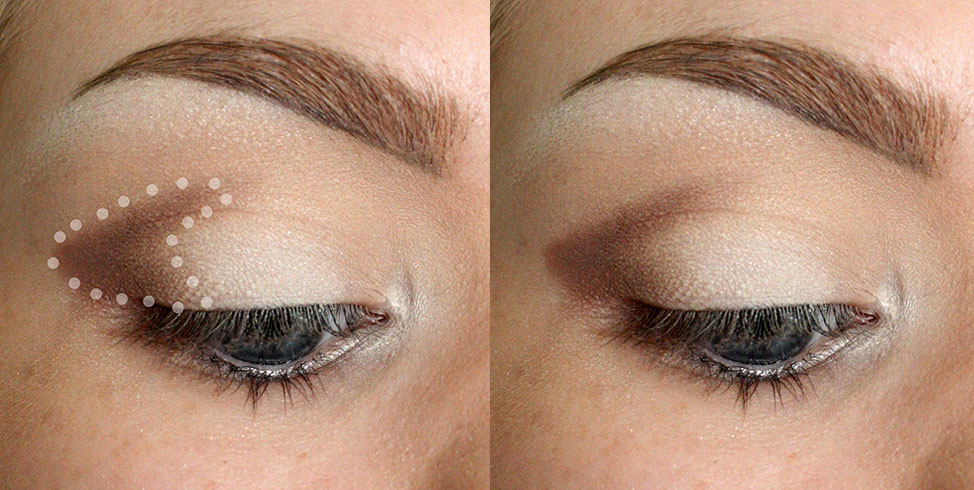 """BRUSH USED: GLAMCOR MINI CONTOUR Apply your darkest shade on the outer corner of the eye in a """"U"""" shape. The """"U"""" should sit just above the crease of the eye, and extend down toward the lashline. Use a smaller, denser brush for this to get a more precise shape. Worry about blending later."""