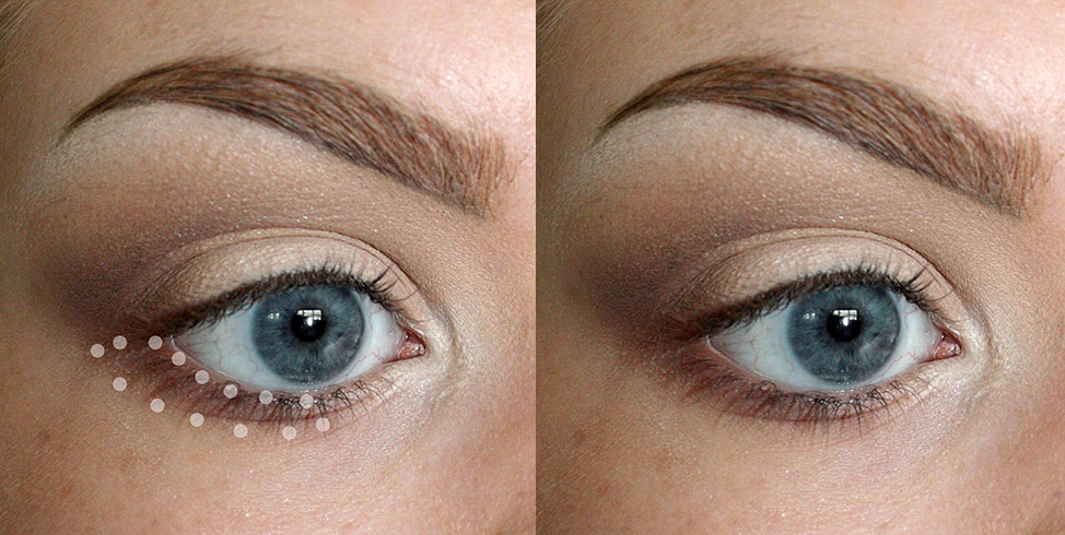 BRUSH USED: GLAMCOR MINI CONTOUR Add a little bit of the darkest color underneath the lower lash line, extending from the top lash line to just under the pupil.