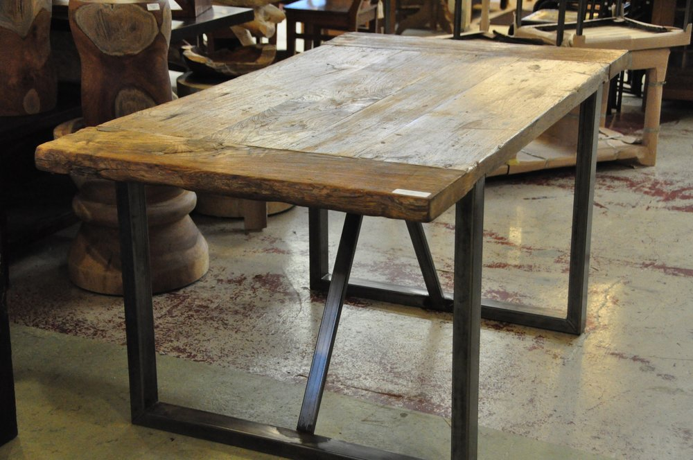 "Dingklik Table with Iron Base    1,135,  60""L x 34""D x 30""H"