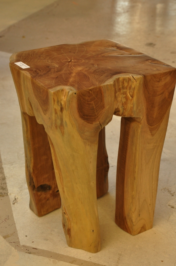 "Teak Root Square Stool Price: $100 11.8""W x 11.8""D x 15.75""H."