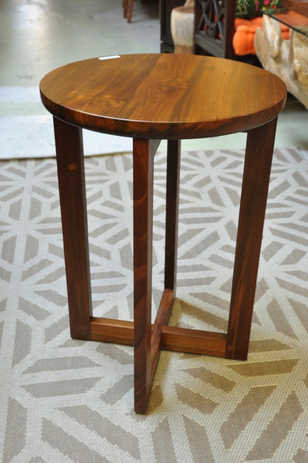 "Rangka Round Side Table    17""D x 24""H      Price: $195"