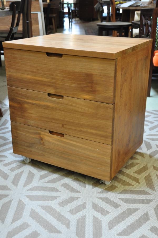 "3-Drawer Cabinet on Wheels    23.6""W x 20""D x 27.6""H    Price: $795"