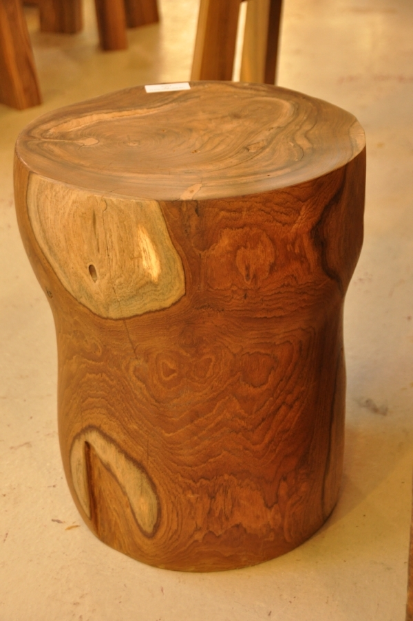 "Teak Root Cylinder Stool Price: $135 11""Dx16""H."