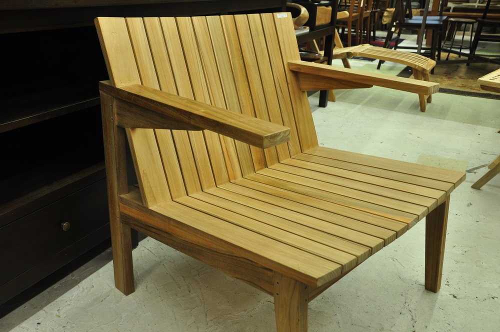 "Slatted Outdoor Lounge   28""Wx27""Dx30""H.   Price: $485"