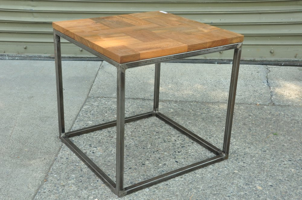"Cube Teak Iron Side Table   14""W x 18""D x 16""H    Price:   $150   18""W x 18""D x 18""H  Price: $160   20""W x 20""D x 21""H  Price: $170"