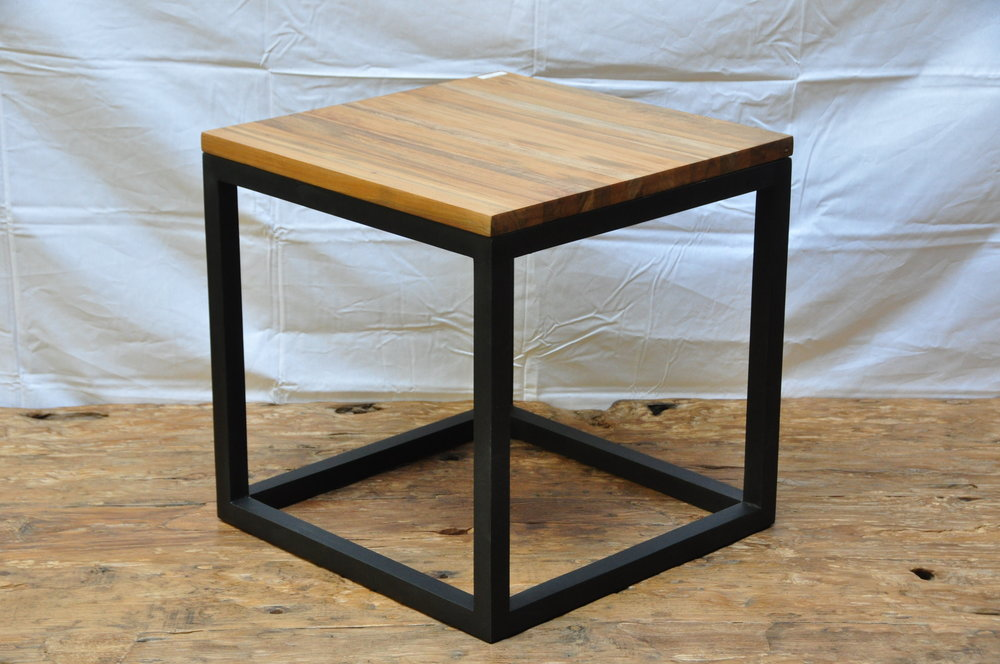 "Teak Cube Side Table    19.75""W x 19.75""D x 19.75""H   Price: $170"