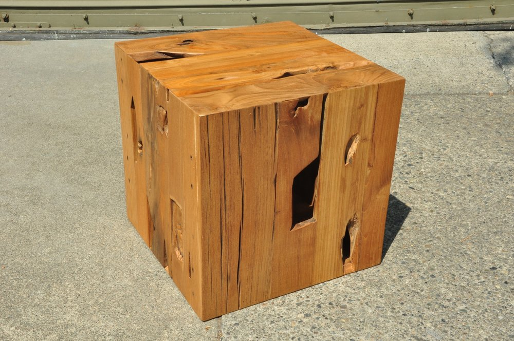"Eroded Cube Side Table    16""W x 16""D x 16""H  Price: $250   20""W x 20""D x 20""H  Price:   $295"
