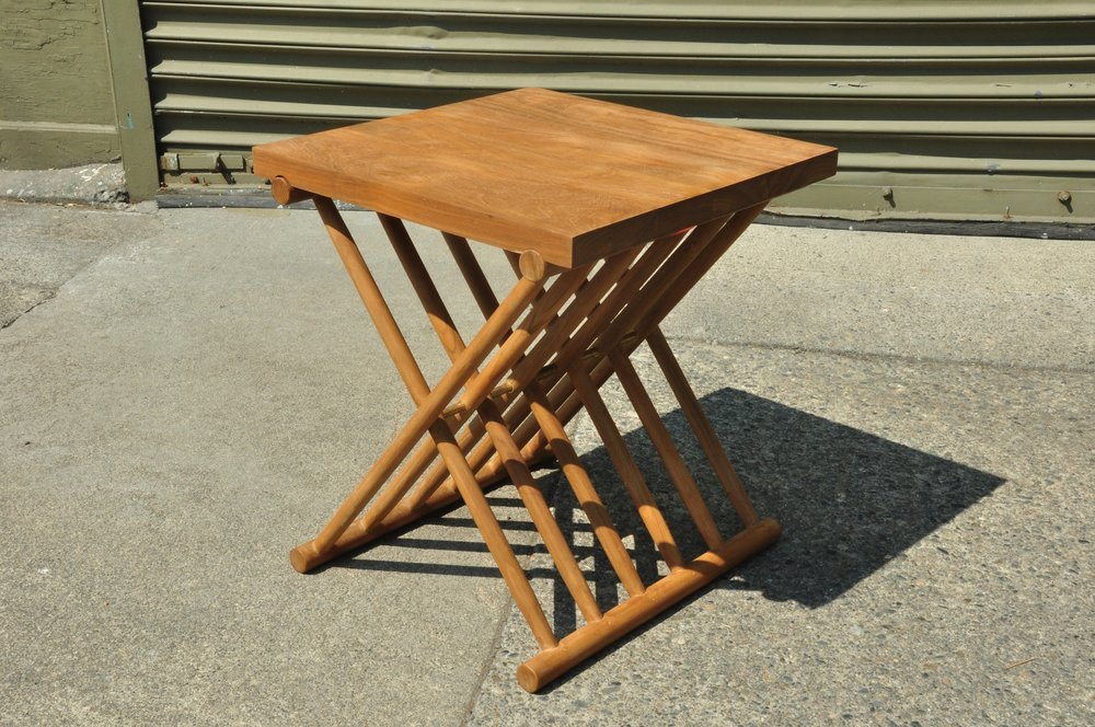 "Folding Slatted Side Table    17""W x 17""D x 19""H       Price: $299"
