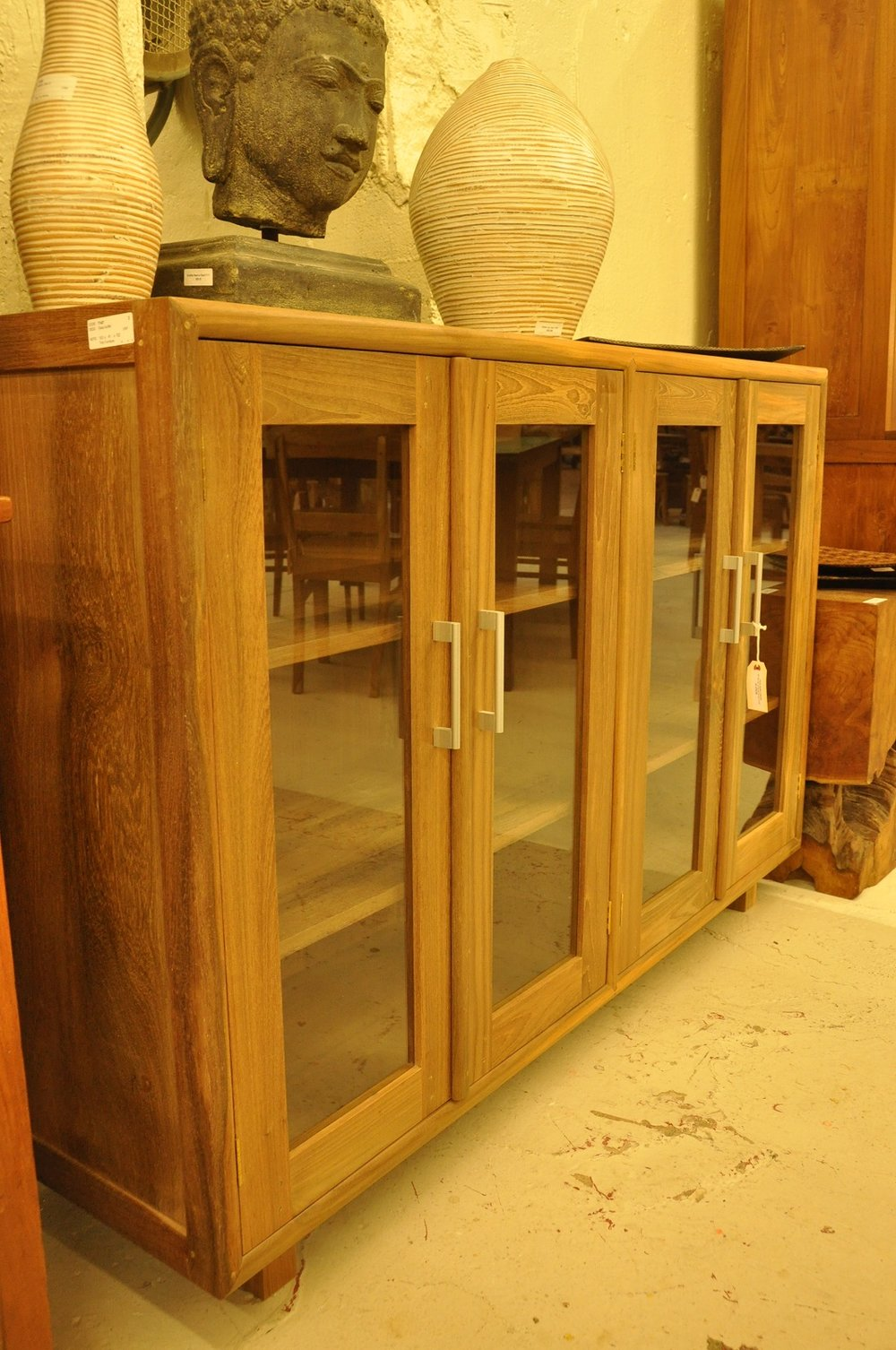 "Glass Buffet Cabinet   60""W x 16.15""D x 40""H   Price: $1,175"