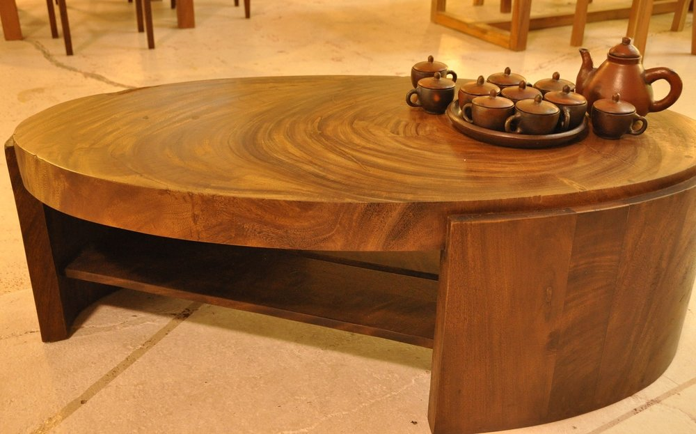 "Oval Solobin Coffee Table   51""W x 25.5""D x 17.75""H   Price: $1,100"