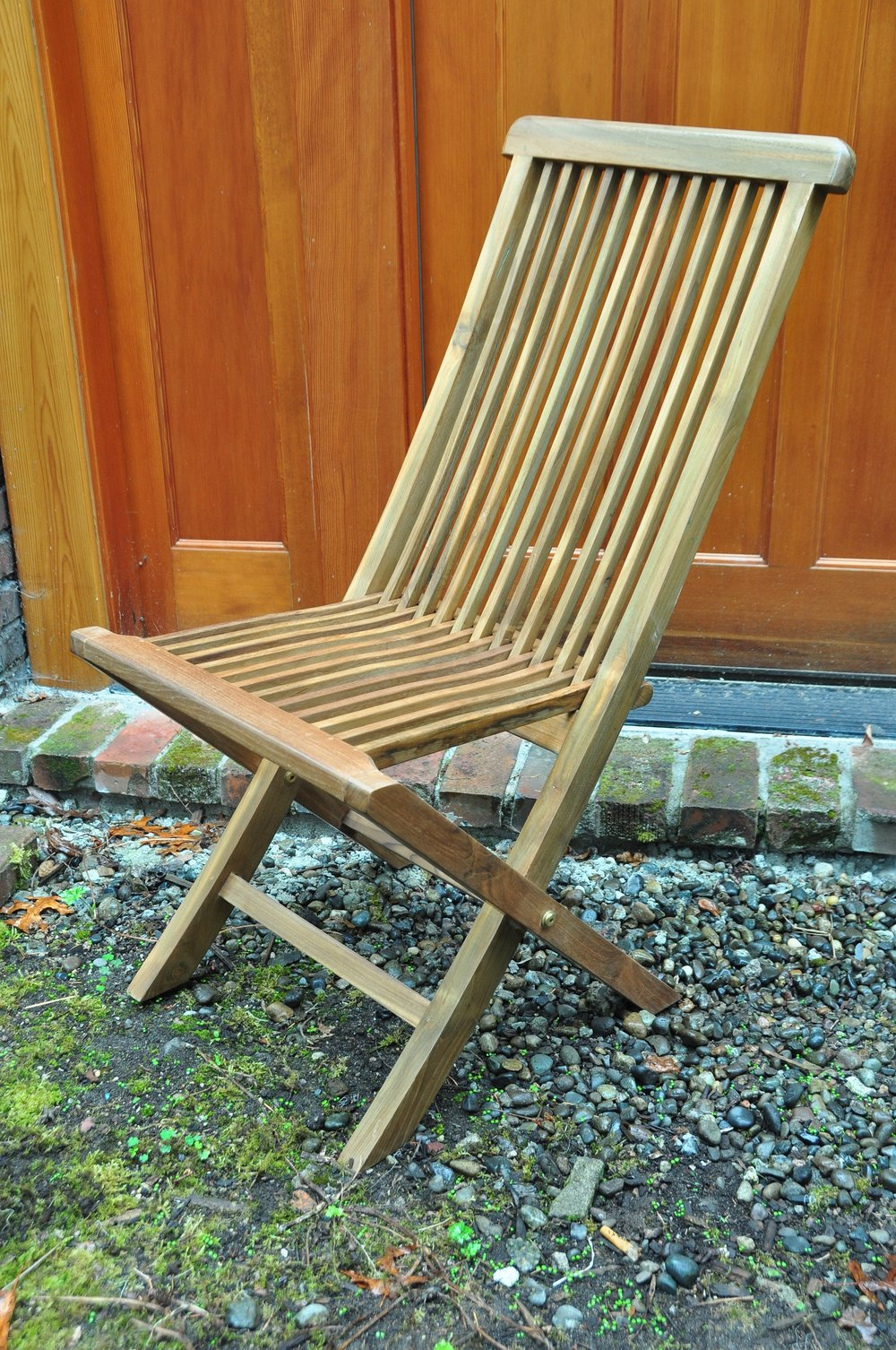 "Slatted Folding Side Chair   18.5""Wx17""Dx37""H  Price: $190"
