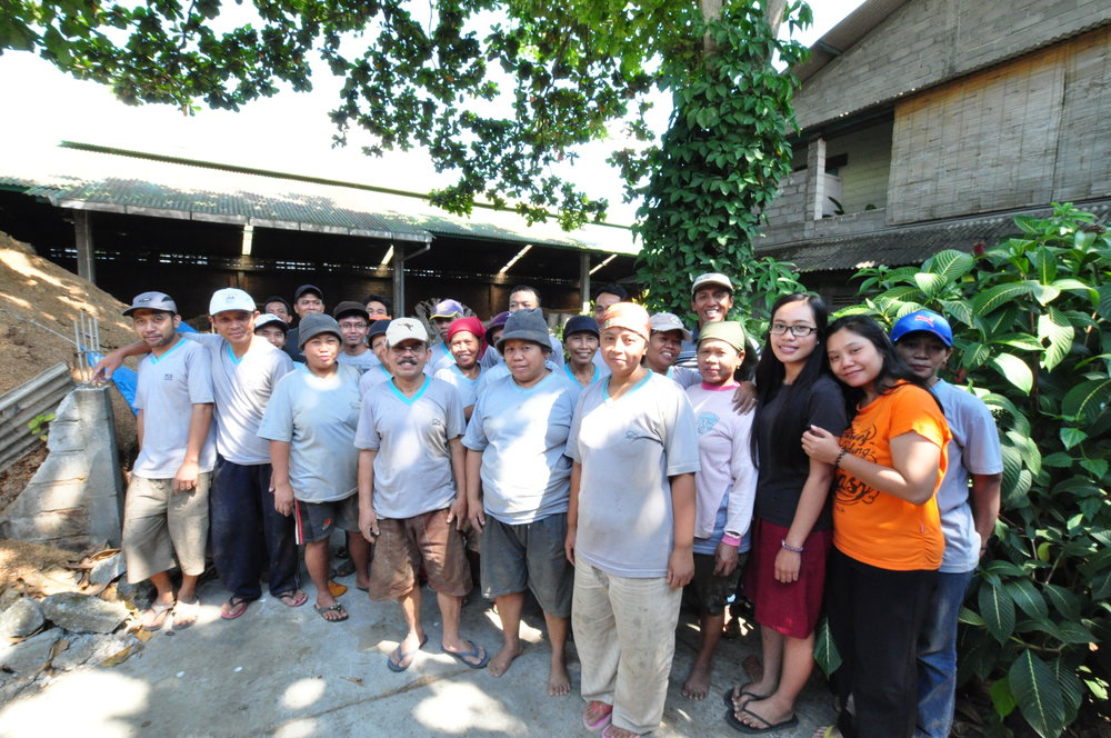 The carpenters and office staff at our workshop in Blitar, E. Java, Indonesia.