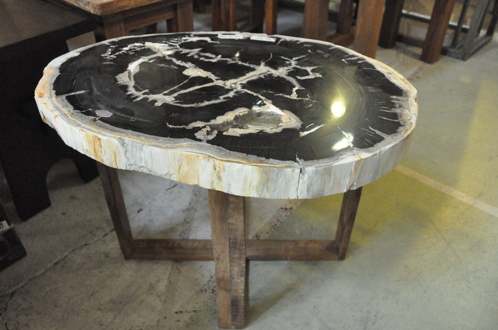 "Petrified Wood Side Table   20""W x 17""D x 18""H   Price: $385.00"
